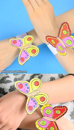 Spring is the time for butterflies and if you are looking for a fun after school (or school) activity, why not make these butterfly paper bracelets for kids! video kids smart Butterfly Paper Bracelets for Kids they will like it fro sure! Paper Crafts For Kids, Craft Activities For Kids, Preschool Crafts, Diy For Kids, Christmas Activities, Kids Christmas, Christmas Crafts, Paper Bracelet, Summer Crafts