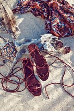 Leather sandals with long leather straps to tie around your legs. | H&M Summer
