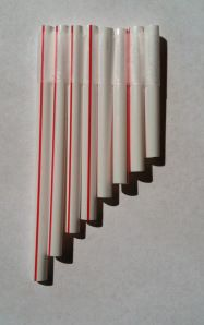 A Pan Flute. Shorter pipes produce higher frequency sound waves and a higher pitch. Good activity when you teach a unit on sound. The link gives you exact measurements to make notes in a true scale so you can play songs. The shortest straw must be exactly half the length of the longest straw.