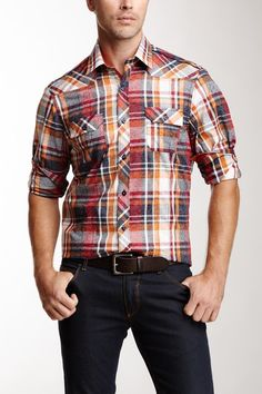 John Lennon Plaid with Floral Overlay Print Shirt by Non Specific on @HauteLook