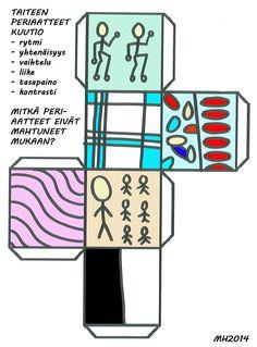 Taiteen periaatteet kuutio. Liimasin kuution kartongille, leikkasin irti ja taittelin valmiiksi. Lopuksi kontaktoin, että kestää likaantumatta. Kuutiota voi vierittää ja kysyä pikakysymyksiä. Mikä taiteen periaate on kyseessä? Mitkä periaatteet puuttuvat? Elements Of Art, Teaching Art, Art Lessons, Art Elements, Color Art Lessons, Art Education