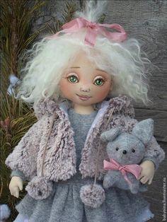 Купить Варежка - серый, розовый, кукла ручной работы, кукла в подарок, кукла текстильная