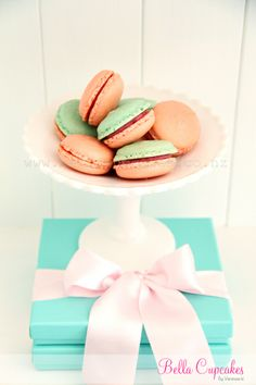 Bella Cupcakes.  White chocolate and raspberry macarons.
