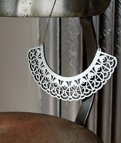 Laser cut jewelry, white leather necklace. $72.00, via Etsy.