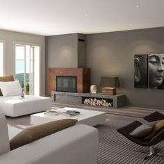 Corner decor in the guest room Living Room Decor Fireplace, Home Fireplace, Modern Fireplace, Living Room Tv, Fireplace Design, Home And Living, Living Spaces, Modern Interior Design, Great Rooms