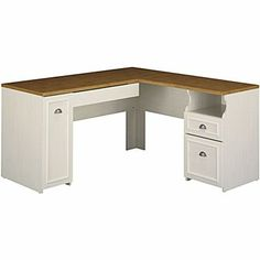 Bush Fairview 60in. L Desk, Antique White