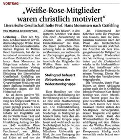"""Literarische Gesellschaft Gräfelfing Newspaper report about the motivation of """"White Rose"""""""