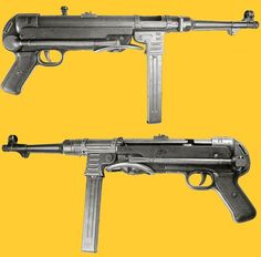 "Schmeisser.MP 40 (MP designates Maschinenpistole, literally ""Machine Pistol""), often called Schmeisser were submachine guns developed in Nazi Germany and used extensively by paratroopers, tank crews, platoon and squad leaders, and other troops during World War II"