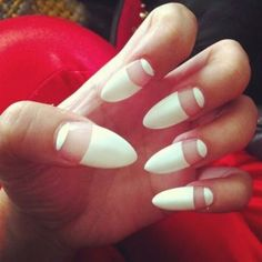 white pointy nails...like the concept not the pointy tips!