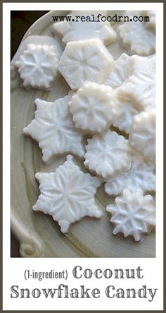 Healthy Coconut Snowflakes Candy. Only one ingredient makes the most delicious, melt in your mouth treat! Easy to make and a great recipe to do with the kids! Plus, they are sugar free! realfoodrn.com