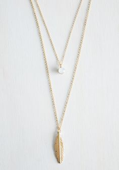 The Sooner the Feather Necklace. Waste no time before choosing this layered necklace to complete your ladylike look! #gold #modcloth