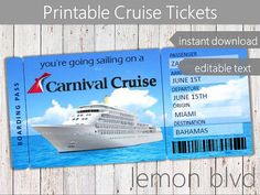 Carnival Cruise Tickets Ticket Editable Text Surprise Vacation Boarding P