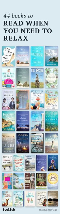 44 books to read when you need to relax. 44 books to read when you need to relax. Best Books To Read, I Love Books, Good Books, Ya Books, Book Nerd, Book Club Books, Book Lists, Book Clubs, Book Suggestions