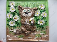 Картина панно рисунок Лепка КОТЫ Гипс Тесто соленое Фарфор холодный фото 3