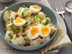 Ultimate potato salad with mustard, soft egg and bacon