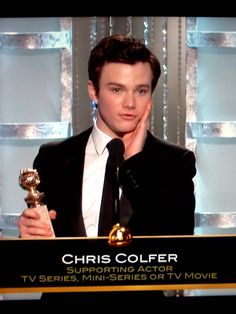 Chris Colfer winning the Golden Globe, made me tear up with his speech in which he told kids who were being bullied to never give up hope, because look where it'd gotten him, and to screw anyone who tries to put them down.