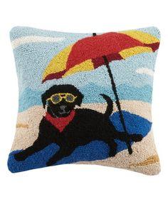$29.99  Black Lab & Umbrella Wool-Blend Throw Pillow on #zulily! #zulilyfinds