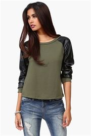 Leather Sweatshirt in Olive