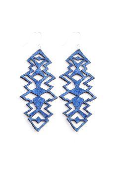 Electric Blue Suede Geometric Earrings