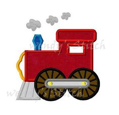 Choo choo train applique machine embroidery design by WendysStitch