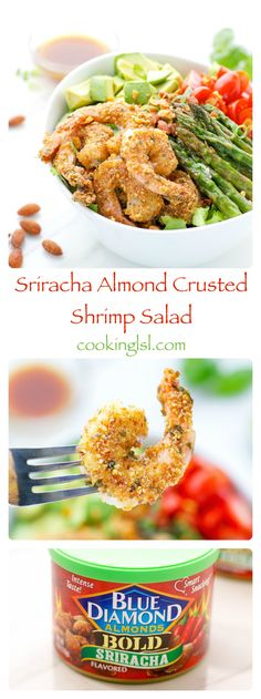 Sriracha-almond-crusted-shrimp-salad