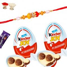 Buy #Designer #Rakhi with #Kinder Joy #Chocolates from http://www.rakhistoreonline.com/rakhi-with-chocolates/designer-rakhi-with-kinder-joy-chocolates.html