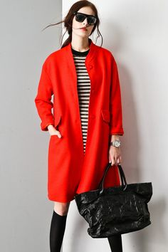 Limited Edition Straight Line Wool Coat OU0064 | Wool coats, Moda ...