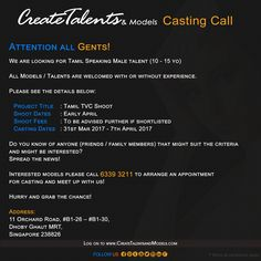 We are looking for Tamil Speaking Male talent (10 - 15 yo) for Tamil TVC Shoot