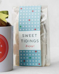 "Dress up a package of homemade treats with our ""Sweet Tidings"" clip-art packaging labels."
