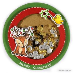 Shaker Card by Vicky Papaioannou - Just Adorable!  Cheery Christmas Stamps by Lawn Fawn.