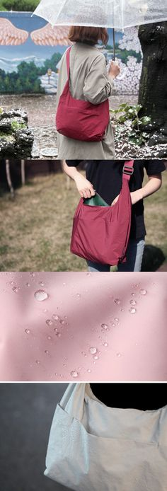 Even when it rains, I don't worry one bit! With an umbrella and the Daily Rain Shoulder Bag, I can rest assured that neither I nor any of my stuff will get wet. Made with a light and waterproof material, this stylish bag keeps all my items safe when it suddenly starts raining!
