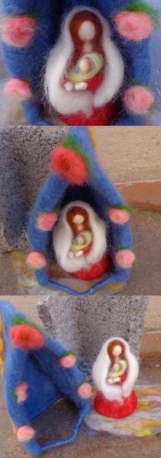 Oratório em feltragem com agulha (needle felting). Criação de Maria Alice Nunes no Curso de Fetragem Mensal da Fios e Lendas. fioselendas@gmail.com