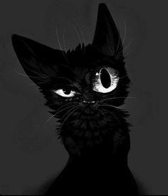 41 Illustration Of Various Cat Ideas - Art Black Cat Art, Black Cats, Warrior Cats, Cat Drawing, Drawing Eyes, Cat Tattoo, Halloween Art, Beautiful Cats, Crazy Cats