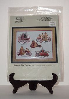 Something Special NEW Candamar Antique Fire Engines Counted Cross Stitch Kit #SomethingSpecial #Picture