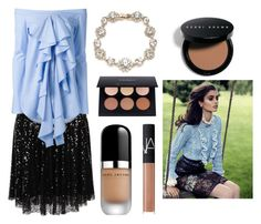 cream in the apple by angela-g-fuentes on Polyvore featuring moda, E L L E R Y, Elvi, Marchesa, Bobbi Brown Cosmetics, Marc Jacobs, Anastasia Beverly Hills and NARS Cosmetics
