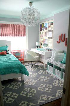 decoração quarto adolescente - quarto clean- inspiração quarto de adolescente - decoração turqueza e coral