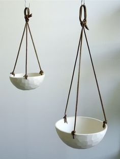 Hanging Porcelain Planter with Leather Cord Size Small Geometric Carved or Smooth Texture