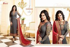The bright shade seen is the best closer view of fabric's color. Dupatta :-georgette with chainstich work. Pakistani Party Wear Dresses, Party Kleidung, Indian Bollywood, Dress Suits, Salwar Kameez, Ethnic, Sari, Formal Dresses, Random