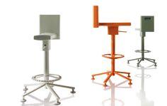 Contemporary task stool / steel / cast aluminum / polyurethane - 360° - MAGIS