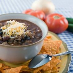 vegetarian black bean chili (with jalapeno peppers and chipotle peppers in adobo sauce). it's HOT.