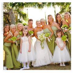 Pale green bridesmaids dresses