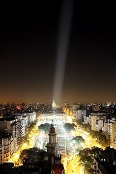 Buenos Aires de noche - Vista de la Plaza del Congreso desde el Palacio Barolo