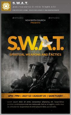 S.W.A.T. Church  Flyer Template — Photoshop PSD #jesus #spiritual • Available here → https://graphicriver.net/item/swat-church-flyer-template/10934459?ref=pxcr