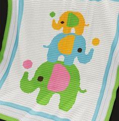 Crochet Pattern | Baby Blanket / Afghan - Three Elephants