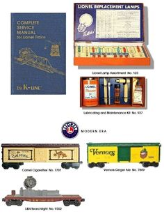 Lionel maintenance sets, some Modern Era rolling stock.  Plus a K-Line reproduction Lionel Service Manual that provides factory issued operating sheets on most post war Lionel with parts identification