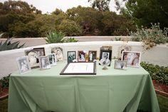 Family photos at signing table