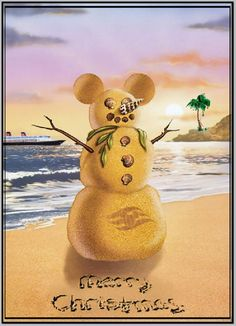 Build a Mickey snowman on the beach, take Christmas photo with it.