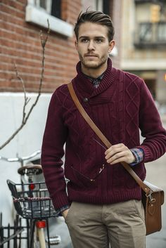 Adam Gallagher in our Men's Cable Knit Shawl Collar Sweater