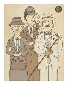 The Detectives - Miss Marple, Sherlock Holmes, Hercule Poirot Art Print by Carl Batterbee Illustration. Hercule Poirot, Agatha Christie's Poirot, Miss Marple, Sherlock Holmes, Desenho Tattoo, Murder Mysteries, Mystery Books, A Team, Book Worms