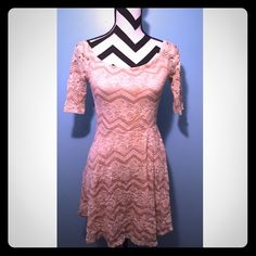 Nordstrom Pink Lace Short Sleeve Skater Dress Worn a few times, good condition. Size small, true to size.  Bought from Nordstrom brand is socialite.  Some stains on the lining but is not visible on the outside. No trades. Nordstrom Dresses Mini